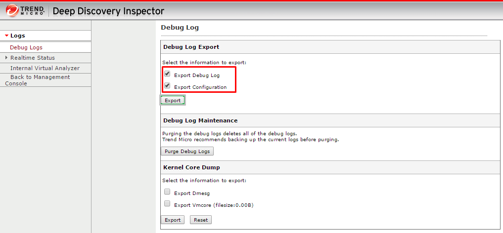Debug Log Export