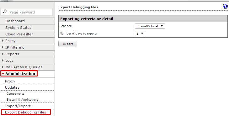 Export debugging logs