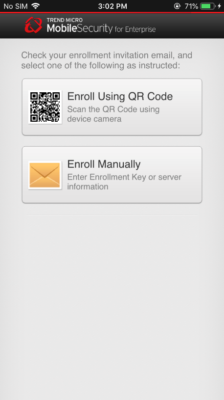 Scan QR code or manually enroll