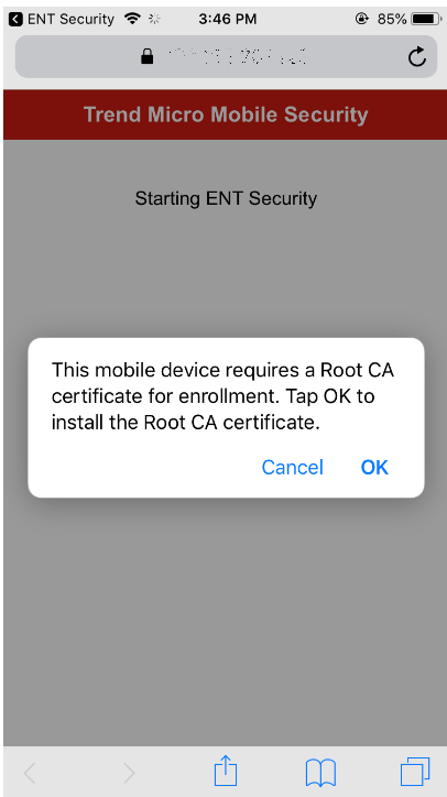 Mobile device requires root CA