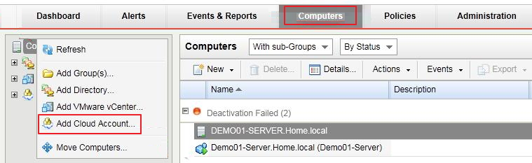 add new vCloud Director instance to DSM