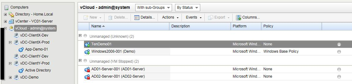vCloud Directory inventory view on DSM