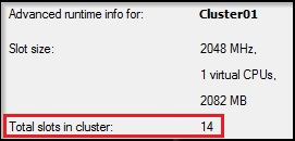 A cluster with 2048MB memory reservation has 14 total slots