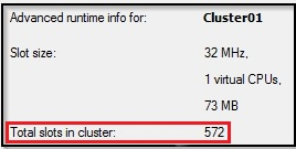 A cluster with no memory reservation has 572 total slots