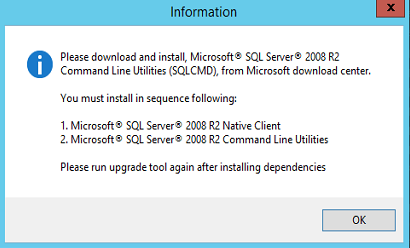 Please download and install Microsoft SQL Server 2008 R2 Command Line Utilities