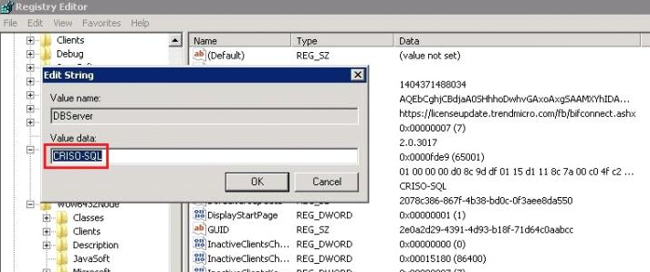 DBServer registry entry modification