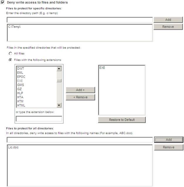 Configure folder access