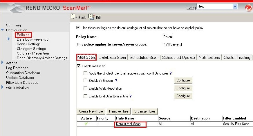 Default Mail Scan rule