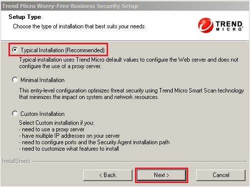 Select typical install method