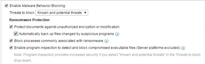 Best practice settings for ransomware protection