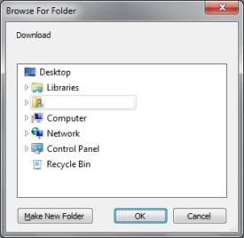 Browse the destination folder