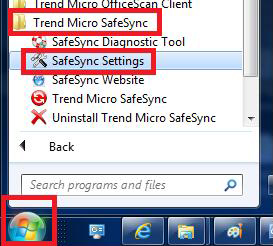 Open SafeSync from Start Menu