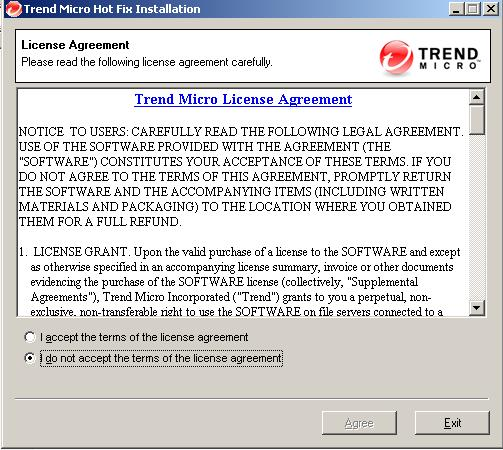 Trend Micro Hot Fix Installation