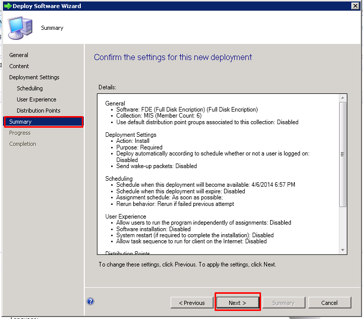 Summary tab_Deploy Software Wizard
