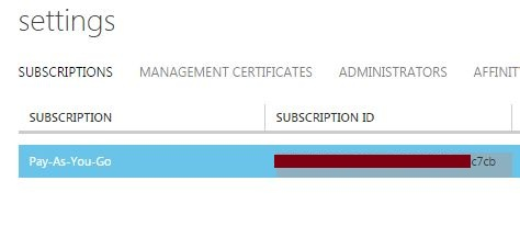 Windows Azure Subscription ID