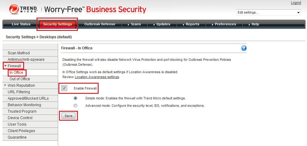 Security Settings Firewall