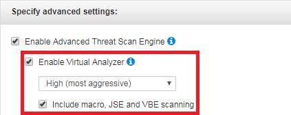 Specify Advanced settings Virtual Analyzer