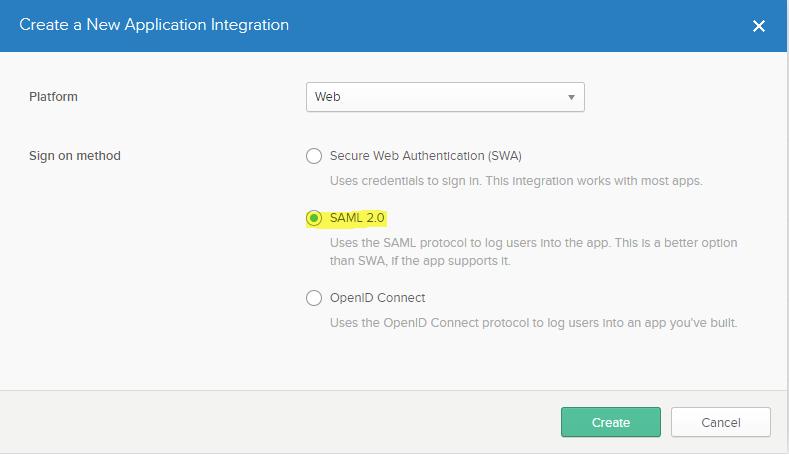 SAML 2.0 Sign-on Method