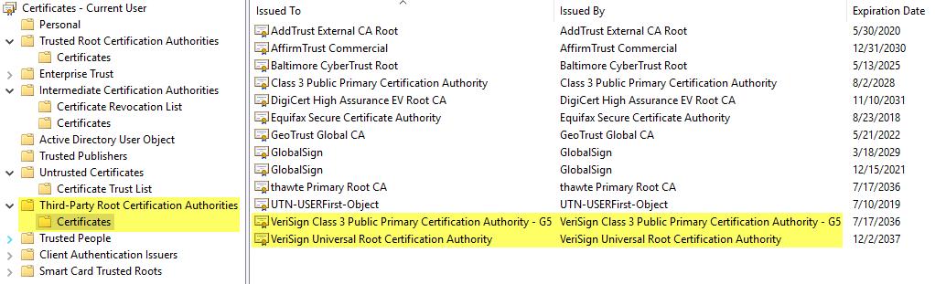 Windows certificates management