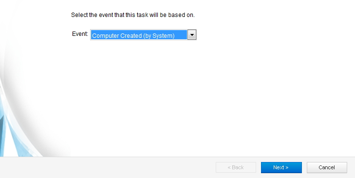 Select event for Event-Based Task