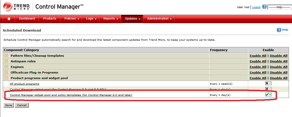 Scheduled Update settings