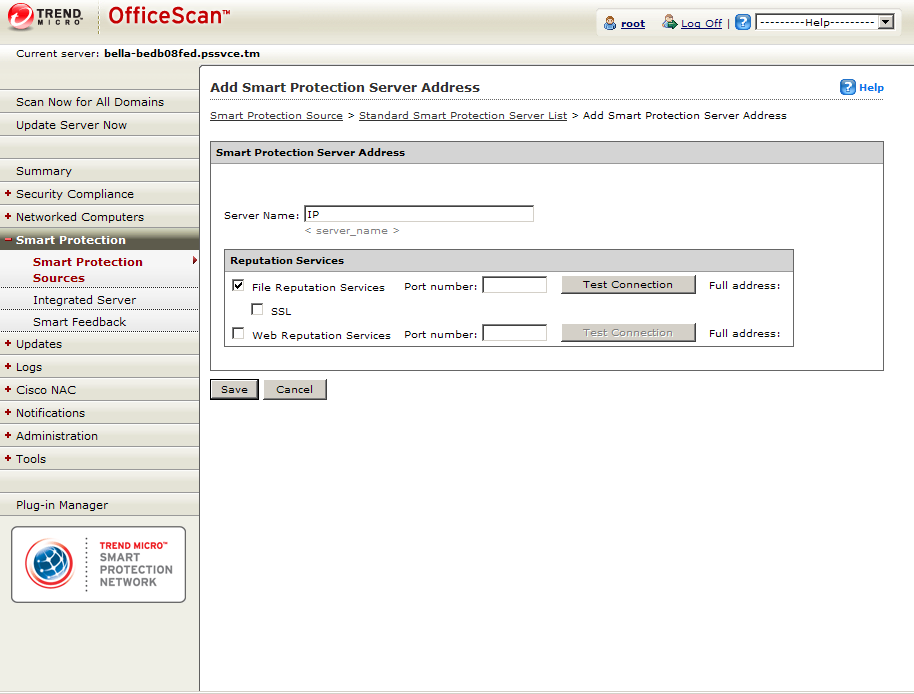 Smart Protection Server Address