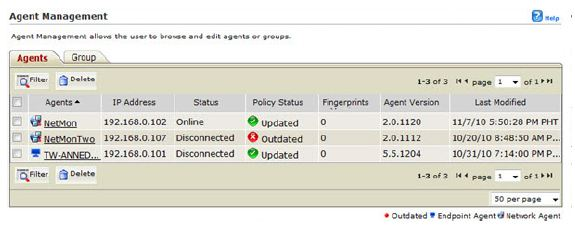 Check machine status in Agent Management page
