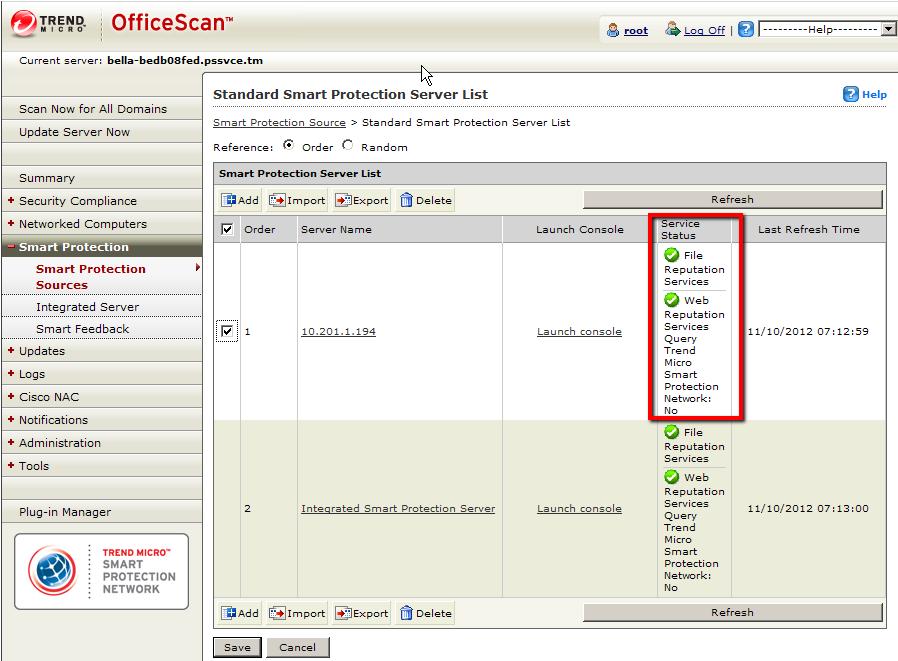 Smart Protection Server List