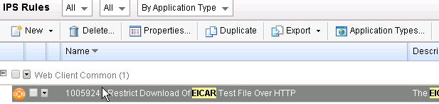 Restricy Download of EICAR Test File