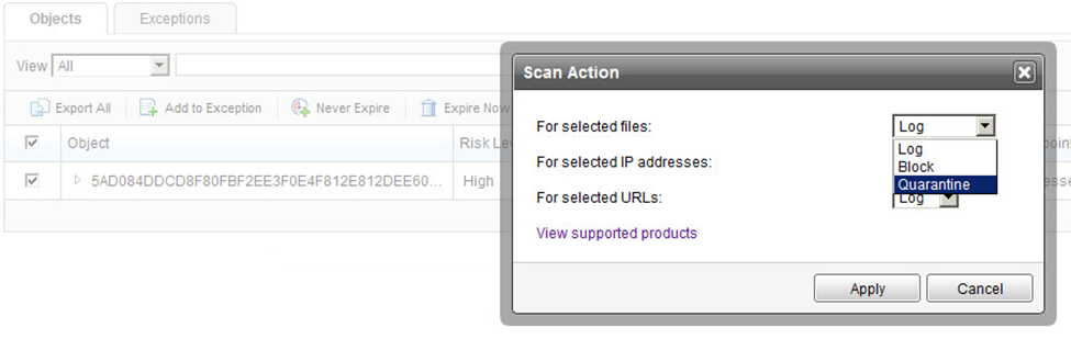 Configure Scan Action