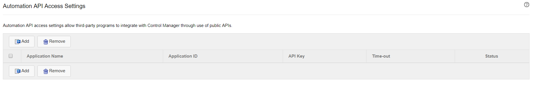 Automation API Access Settings