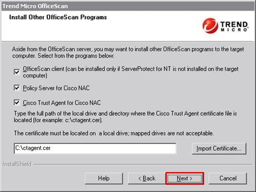 Install other Officescan Components
