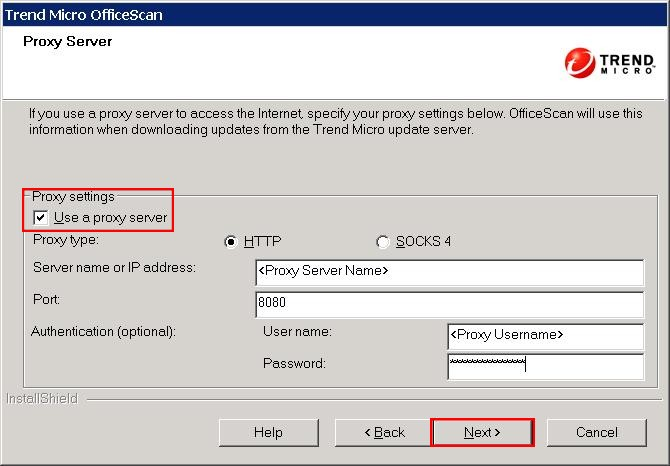 OfficeScan 10.6 Proxy Server Configuration