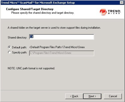 Configure Shared/Target Directory