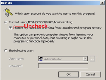 "Uncheck ""Protect my computer and data from unauthorized program activity"""