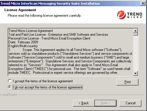 License Agreement screen