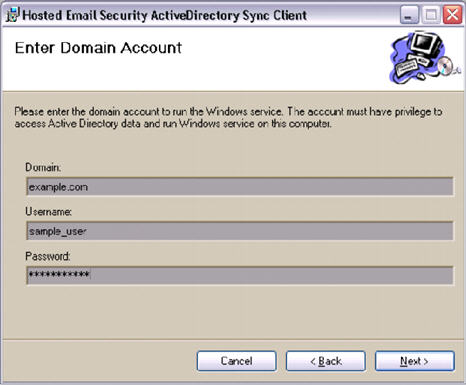 HES ActiveDirectory Sync Client Enter Domain Account