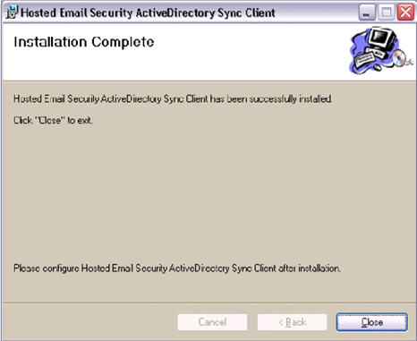 HES ActiveDirectory Sync Client Installation Complete