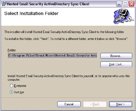 HES ActiveDirectory Sync Client Select Folder
