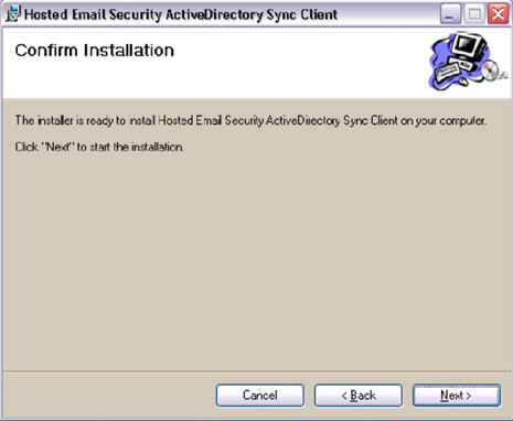 HES ActiveDirectory Sync Client Confirm Installation
