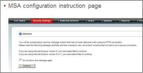 MSA configuration page