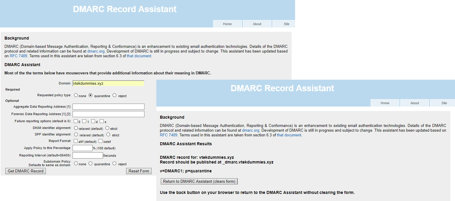 DMARC Record Assistant