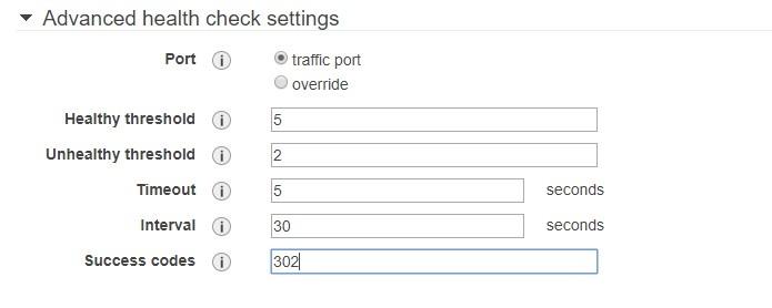 Advanced health check settings