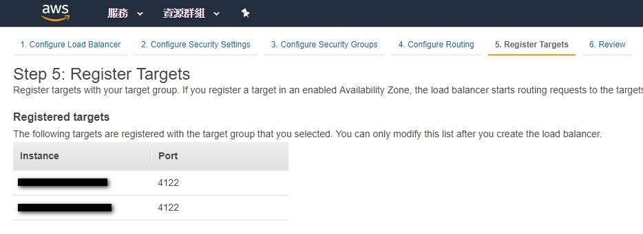 Verify the targets that you selected and registered