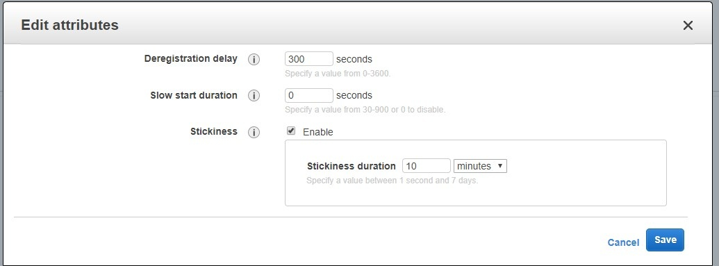Set stickiness to 10 minutes
