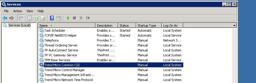 Set TMCM services to manual startup type