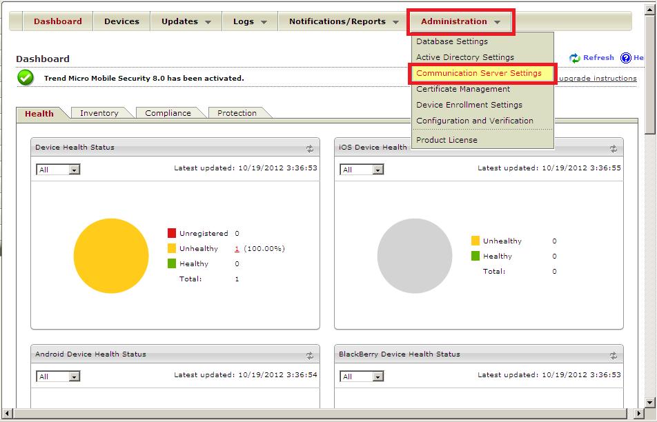 Communication server settings