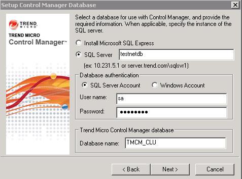 Set up Control Manager Database