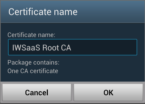 Specify a certificate name for the CA