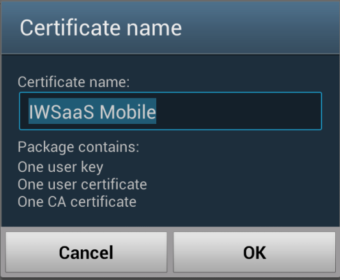 Specify a name for the mobile certificate
